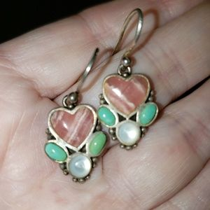 Barse Stone Heartshaped Earrings